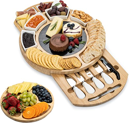wholesale SMIRLY Cheese Board and new arrival Knife Set - Large Round Charcuterie Board Set, Bamboo Cheese discount Board Set, Cheese Platter Board, Cheese Tray Set, Wooden Cheese Board, Cheese Cutting Board Set, Cheese Plate Set sale