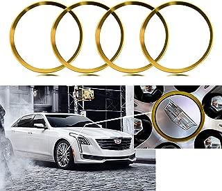Xotic Tech 4 Pieces Gold Alloy Car Wheel Rim Center Cap Hub Rings Logo Decoration Cover for Cadillac ATS CT6 CTS Escalade XT5 SRX