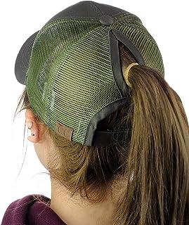 C.C Ponycap Messy High Bun Ponytail Adjustable Mesh Trucker Baseball Cap Hat 0030585936e7