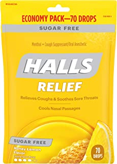 Halls Honey Lemon Sugar Free Cough Drops - 70 Drops (1 Bag of 70 Drops)