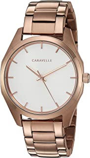Caravelle Women's Rose-Gold Stainless Steel Watch, Silver Dial - 45L179