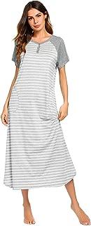 Ekouaer Women's Nightgown V-Neck Loungewear Long Sleeve Sleepwear Full Length Nightgown for Women S-XXL