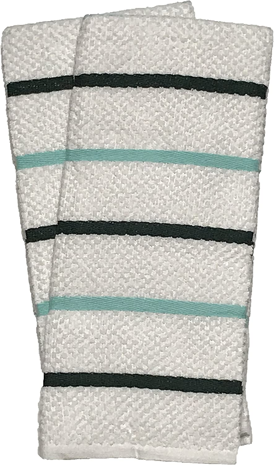 "100 Ringspun Ribbed Terry Cotton Kitchen Towel Size: 16/"" x 26/"" Premium Quality Ultra Absorbent /& Durable for Wiping Down Counter-Tops Green//Teal Stripes Dusting or Drying Dishes. Set of 2"