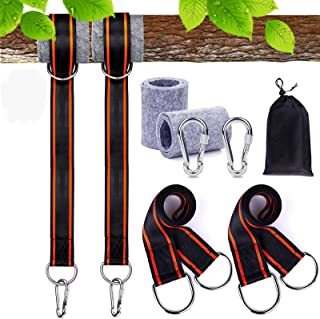 FLY2SKY Tree Swing Hanging Kit Holds Max 4400lbs 5ft Tree Swing Straps Tree Protectors Screw Lock Carabiners Swivel Fits f...