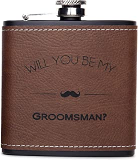 Will You Be My Groomsman Engraved Gift Flask - Asking Groomsmen Gifts- For Men, Brown Whiskey Flasks For Proposal – Extra Thick 5mil #304 Stainless Steel, Laser Engraved, Leak Proof Groomsman 616