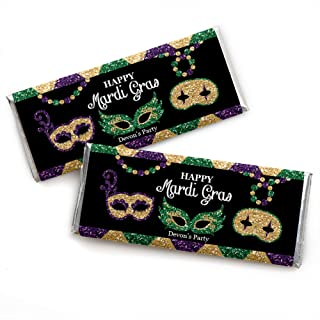 Personalized Mardi Gras - Custom Masquerade Party Favors Candy Bar Wrapper - Set of 24