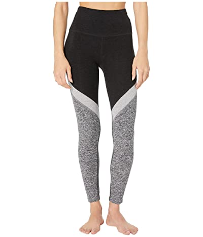 Beyond Yoga Tri-Panel Spacedye High Waisted Midi Leggings (Darkest Night) Women