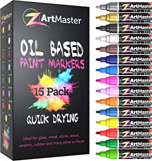 Paint Markers 15 Color Set – Medium Point Permanent Oil Based Paint Pens for Calligraphy, lettering, Rock Painting, Metal, Ceramic, Porcelain, Glass, Wood, Fabric, Canvas and MORE!