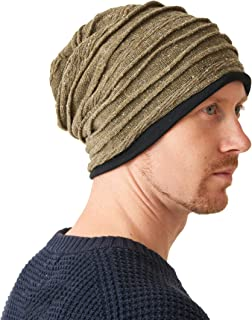 Mens Organic Cotton Winter Hat - Womens Slouchy Oversized Beanie Women Baggy Chemo Cap Made in Japan