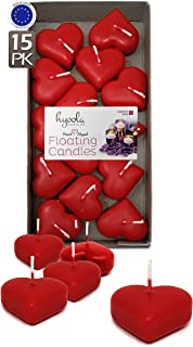 HYOOLA Premium Red Heart Floating Candles - Love Shaped Candles - 1.8 Inch - 2 Hour - 15 Pack - European Made
