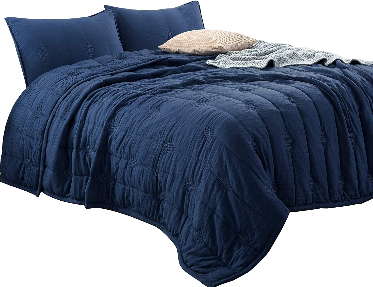 ANNA.Z HOME Ethan Comforter, Quilt, Stone Washed Microfiber 3 Pieced Set Quilt, Allover Stitching and Embroidery, King and Queen Set in Solid Colors, Good for All Seasons. (Navy, King Set)