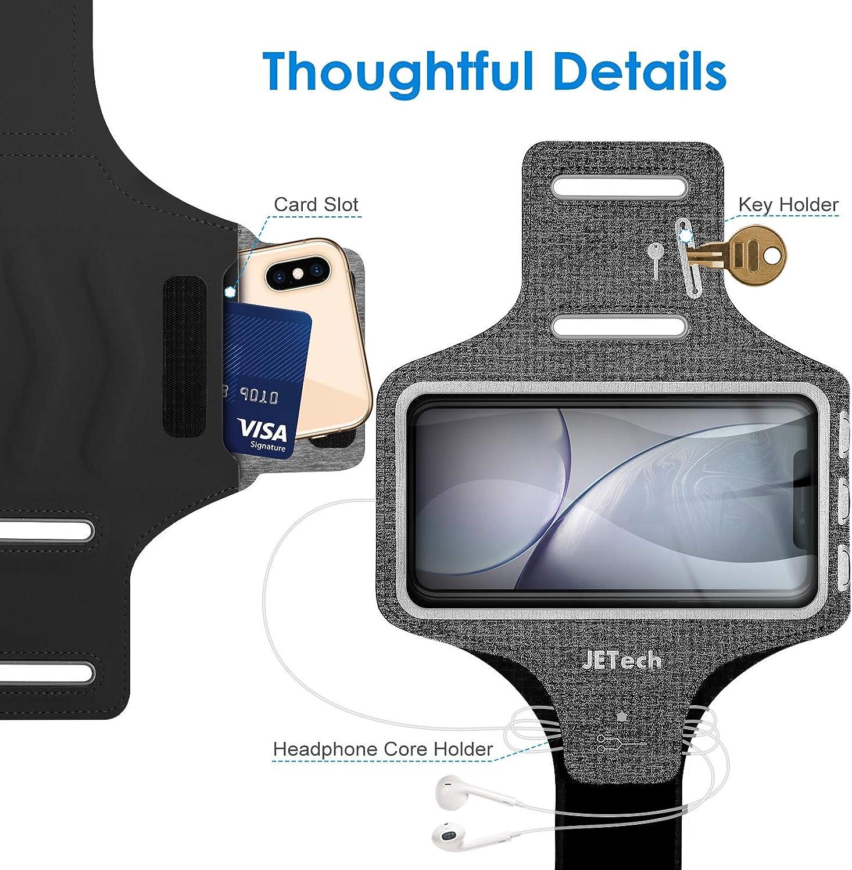 Galaxy S10//S9//S9+,Correa Ajustable Negro Equipado con Soporte para Llave y Tarjeta Senderismo JETech Brazalete Deportivo Compatible iPhone SE //11//11 Pro//XR//XS//X//8 Plus//7 Plus//8//7 para Correr 2020