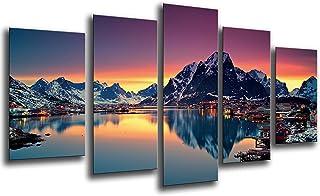 Cuadro Fotográfico Paisaje Lago Moskenes Atardecer, Noruega
