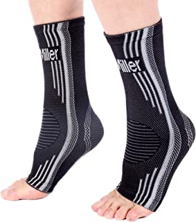 Doc Miller Ankle Brace Compression - 1 Pair Support Men Women Best Foot Sleeve Achilles Tendonitis Plantar Fasciitis Arthritis Fracture Reduces Swelling Pain Relief Orthopedic Stabilizer (Gray, M)