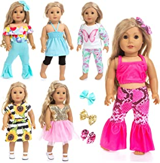 Ecore Fun 14 Pcs 18 Inch Doll Clothes Dresses Summer Casual Wear Oufits Pjs for American 18 Inch Girl Doll Clothes with Ha...