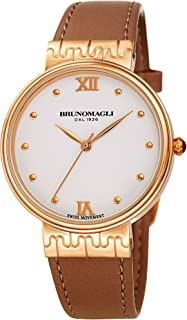 Bruno Magli Women's Isabella 1102 Swiss Quartz Rose Gold with Brown Italian Leather Strap Watch