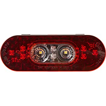 Grote 54702 6 Oval LED Stop Tail Turn Light with Integrated Back-up Integrated Hard Shell
