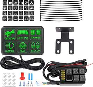 AKD Part 6 Gang Switch Panel Circuit Control Box Universal Electronic Relay System Wiring Harness On Off Button for Jeep SUV ATV UTV Truck Marine