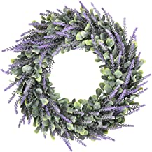 Dolicer Artificial Lavender Wreath, Green Leaves Boxwood Wreath with Lavender Wreath Flowers Arrangements Lavender Spring ...