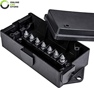 ONLINE LED STORE 7-Port Trailer Wiring Junction Box [Steel Studs] [Stickers Included] [Weatherproof] Trailer Wire/Cable Connection Box