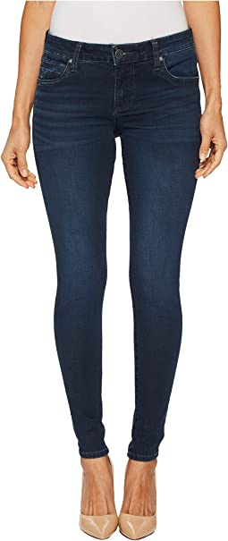 KUT from the Kloth - Petite Mia Toothpick Skinny Five-Pocket in Quintessential w/ Euro Base Wash