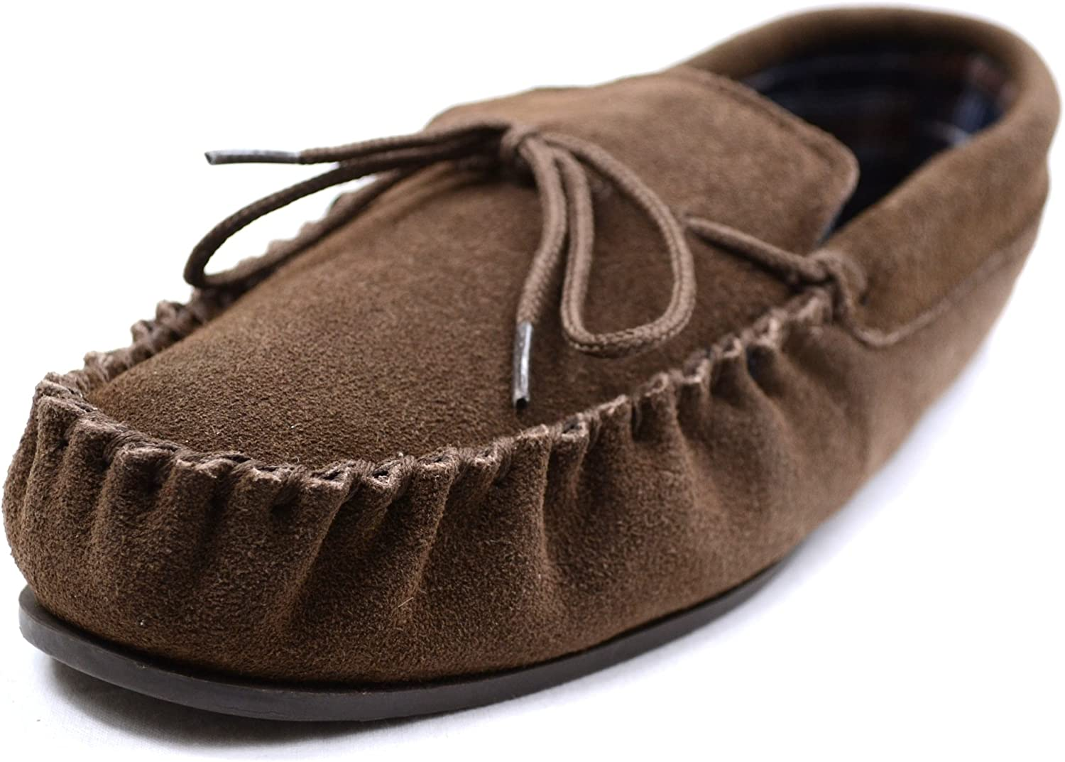 SNUGRUGS Mens Cotton Lined Suede Moccasin Slipper with Rubber Sole