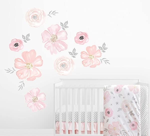 Sweet Jojo Designs Blush Pink Grey And White Large Peel And Stick Wall Mural Decal Stickers Art Nursery Decor For Watercolor Floral Collection Set Of 2 Sheets