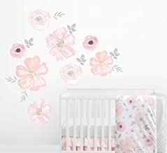 Sweet Jojo Designs Blush Pink, Grey and White Large Peel and Stick Wall Mural Decal Stickers Art Nursery Decor for Waterco...