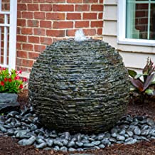 Aquascape Stacked Slate Sphere Water Fountain and Installation Kit for Yard, Landscape, and Garden, Medium | 78290