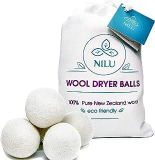 Wool Dryer Balls XL 6 Pack by Nilu, 100% Organic Premium New Zealand Lambs Wool, Reusable Natural Fabric Softener for Laun...