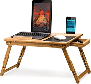 MORVAT Lap Desk Bed Desk for Laptop with Built in Mouse Pad Adjustable Laptop Stand for Bed, Writing Desk, Lap Desk, Laptop Desk, Tray Table Tilting Shelf with Magnetic Drawer 100% Natural Bamboo Wood