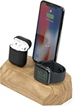 Oakywood Geometric Solid Wood Triple Charging Dock for iPhone, AirPods, and Apple Watch {Oak}