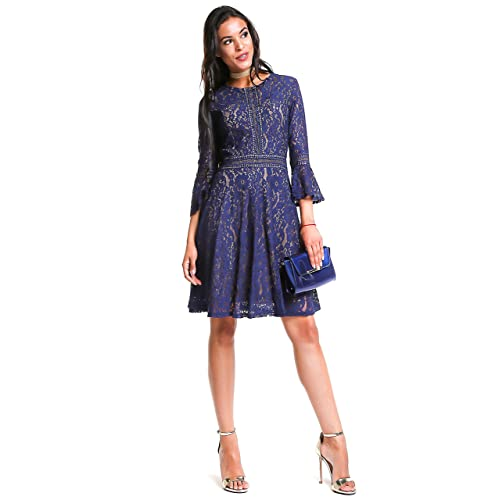 bd11c563fa5d Women's Vintage Floral Full Lace Swing A-Line Knee Length Retro 3/4 Bell
