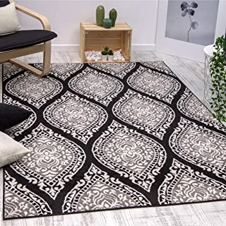 Antep Rugs Kashan King Collection Polypropylene Indoor Area Rug (Gray/Black, 5' x 7')
