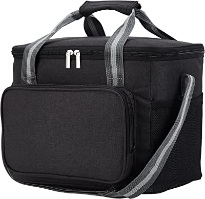 Large Lunch Cooler Bag Insulated Lunch Box for Office Work School Picnic Beach,Cold Preservation, Leakproof Lunch Bag with Adjustable Shoulder Strap for Kids/Adult.(Black)