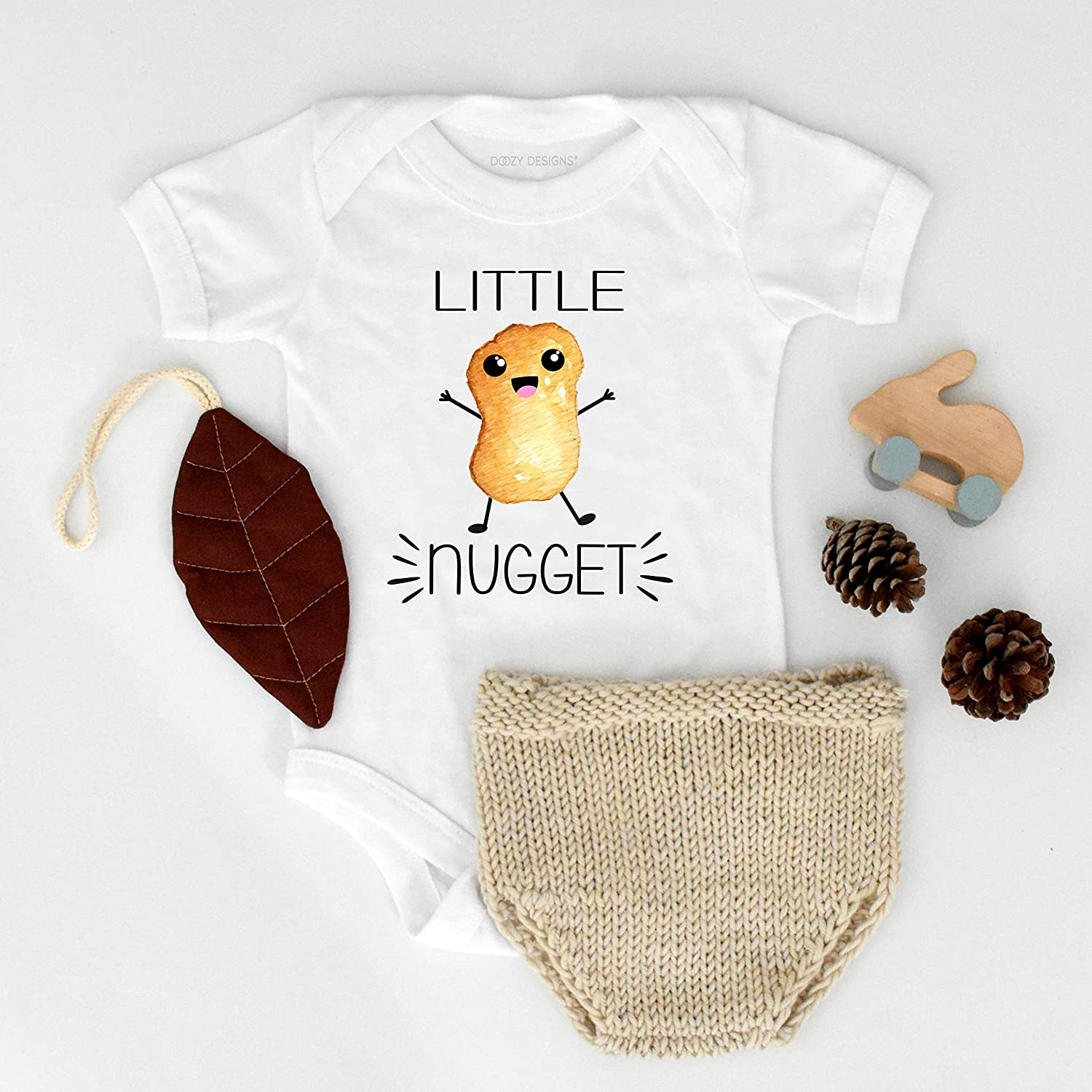 Fast Food Gender Reveal Party Announce D017 Cute Clothes Newborn Infant Shower Gift Boy Girl Little Nugget Chicken Nuggets Baby Bodysuit