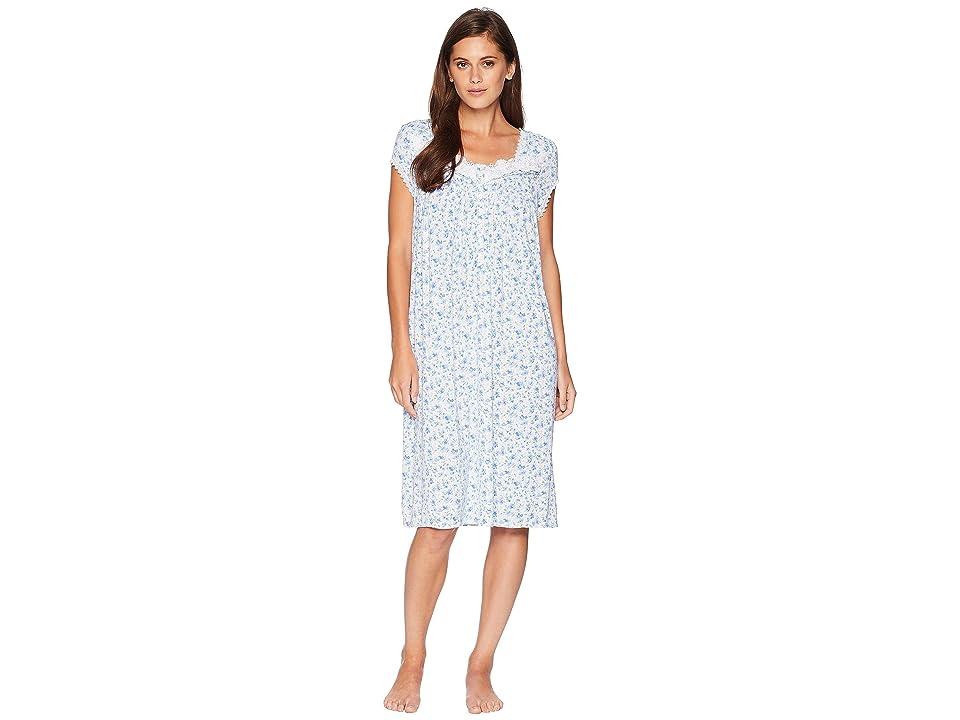 Eileen West Waltz Cap Sleeve Nightgown (Blue Multi) Women