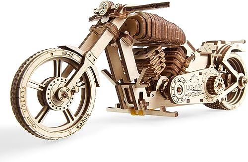 UGEARS Moto en Bois à Construire – Kit de Bricolage – Miniature Mécanisée Fonctionnante – Moteur à Elastique et Grand...