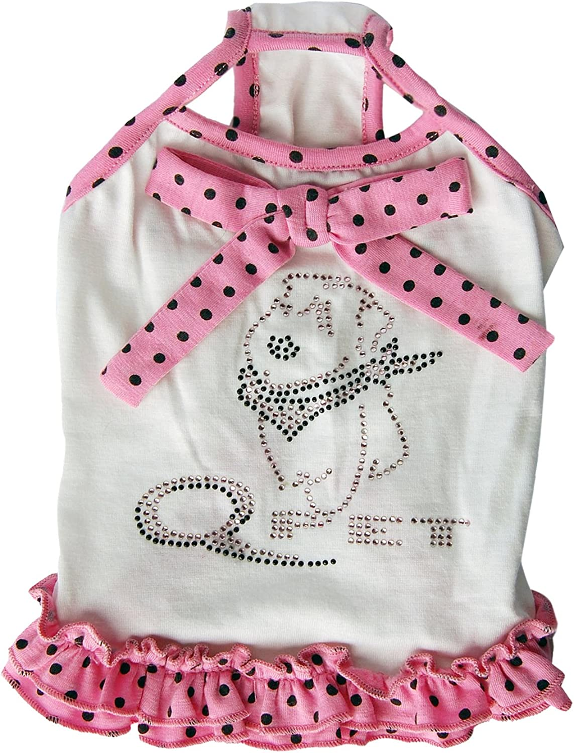 Anima White with Pink and Black Polka Dot Trim Sundress, Small