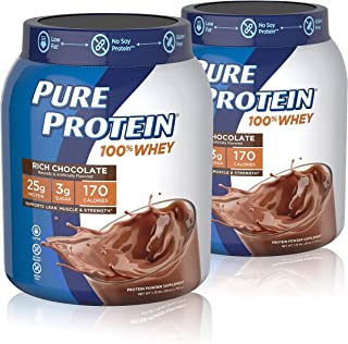 Pure Protein Pure Protein Powder, Whey, High Protein, Low Sugar, Gluten Free, Rich Chocolate, 1.75 lbs, 2 Pack