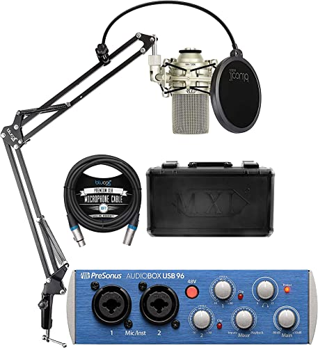2021 PreSonus outlet sale AudioBox USB 96 wholesale 2x2 USB Audio Interface for Mac and Windows Bundle with Studio One Artist Download, MXL 990 Condenser Microphone, Blucoil Boom Arm Plus Pop Filter and 10-FT Balanced XLR Cable online sale