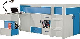 """Ensemble de meubles pour enfants """"MOBI System 21"""". Lit Mezzanine / Lit superposé, bureau, étagères (Tout en un).(matelas n..."""