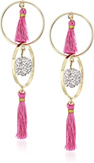 Betsey Johnson (GBG) Women's Fuchsia Tassel Orbital Earrings, Fuchsia, One Size