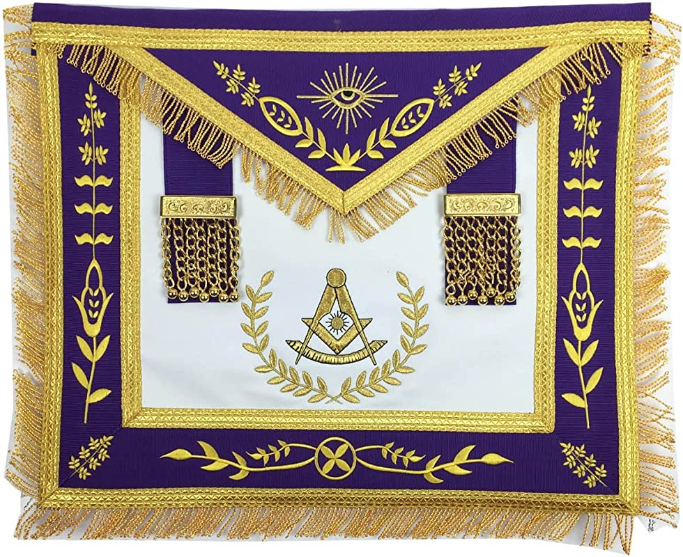 Masonic Grand Lodge Past Master Apron Gold Machine Embroidery Purple Apron