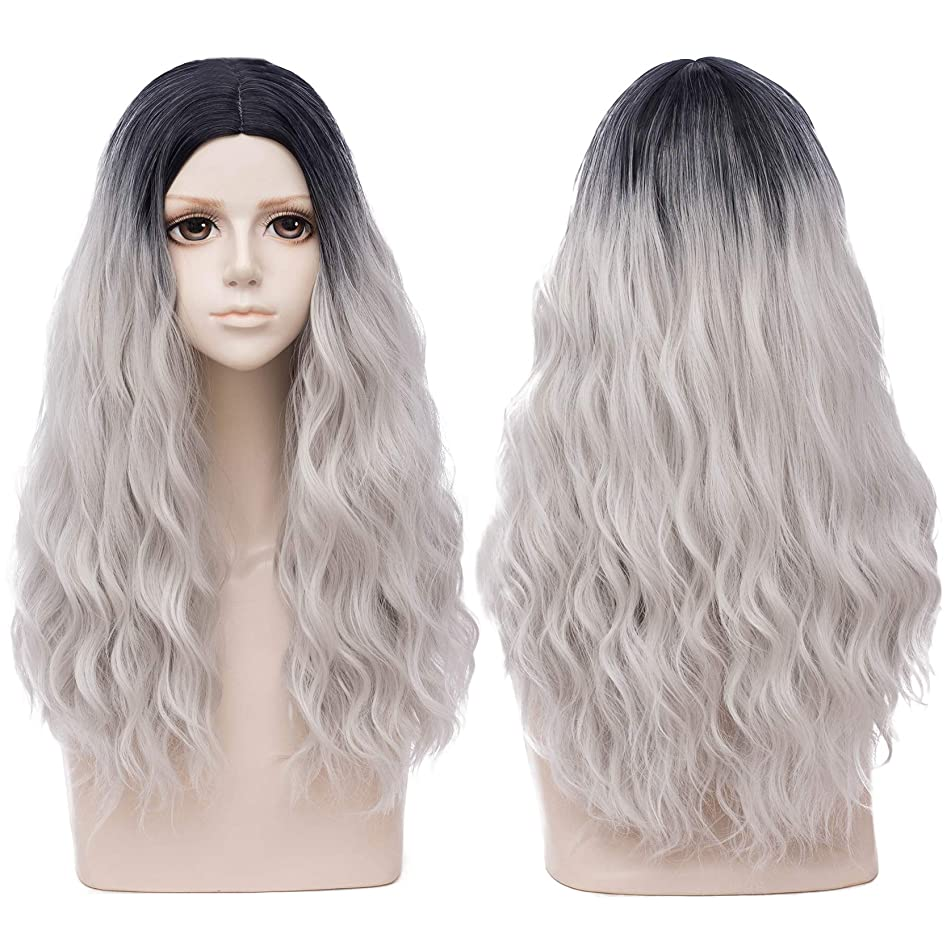 Mildiso Long Grey Wigs for Women Ombre Wavy Hair Wig Natural As Real Hair for Daily Party M071M