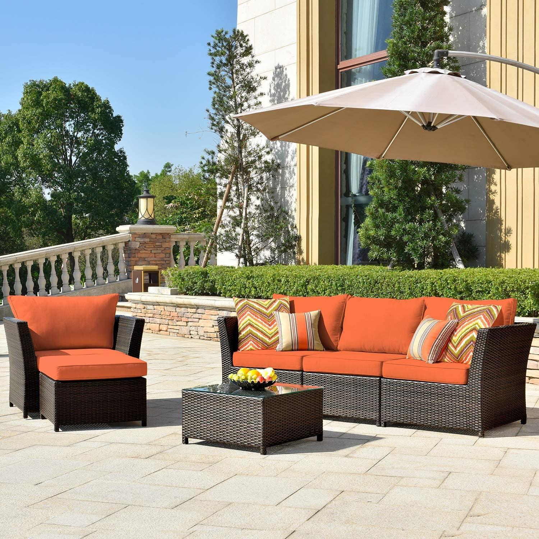 ovios Patio Furniture Set excellence 6 Pcs Rat Sofa PE Backyard Outdoor Recommendation