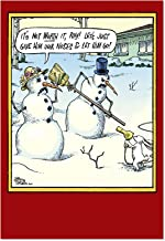 12 'Not Worth It' Boxed Funny Christmas Cards with Envelopes (4.63 x 6.75 Inch) - Humorous Merry Xmas, Happy Holiday Greeting Notecards - Cartoon Snowman vs Rabbit - Bulk Stationery Note Cards B5853