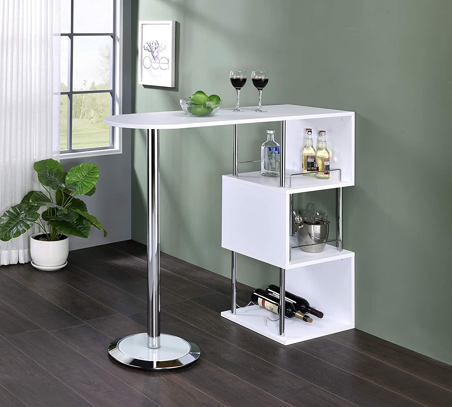 Kings Brand Cheap mail order specialty store Furniture - Minorca Modern Table Wine Shelves w Very popular Bar