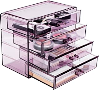 Sorbus Acrylic Cosmetics Makeup and Jewelry Storage Case Display– 4 Large Drawers Space- Saving, Stylish Acrylic Bathroom Case Great for Lipstick, Nail Polish, Brushes, Jewelry and More (Purple)