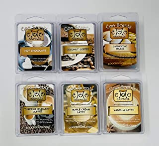 Coo Candles Coffee House 6 Pack Soy Candle Wax bar Melts - Coconut Coffee, Maple Cream Latte, Turkish Hazelnut Coffee, Cha...